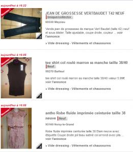 Aperçu d'annonces vêtements gratuites sur Paruvendu Bons Plans