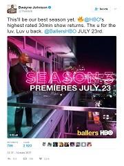 « Ballers » : Dwayne Johnson rempile pour de nouveaux épisodes sur HBO © Twitter 2017