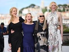 La créatrice et les actrices de la série policière « Top of the Lake » présentée au Festival de Cannes © Anne-Christine POUJOULAT/AFP