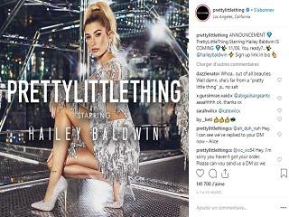 PrettyLittleThing : Haley Baldwin, la mannequin incarne la campagne de la marque