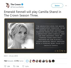 The Crown Emerald Fennell jouera Camilla Shand dans la serie TV de Peter Morgan