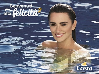 Costa Croisieres : Penelope Cruz, l actrice est egerie de la marque italienne