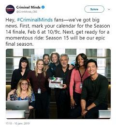 Esprits criminels, serie TV de CBS avec Thomas Gibson aura une saison 15