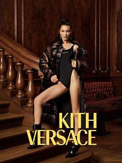Collection de vetements Kith x Versace avec Bella Hadid comme egerie