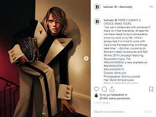 Balmain et Cara Delevingne, le mannequin britannique et la maison de couture creent une collection de sacs