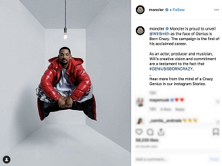 Moncler: Will Smith, l acteur americain incarne la campagne Genius Is Born Crazy