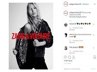 Zadig et Voltaire: Kate Moss, le mannequin britannique est l ambassadrice de la marque de vetements